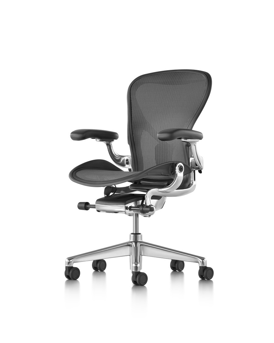 chair open miller herman lumbar aeron by adjustable highly carbon loaded box